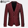 Mens Red Printed Blazer Jacket Size M-4XL Men Wedding Party Blazer Designs 2017 Slim Fit Veste Blazer Costume Homme XK295