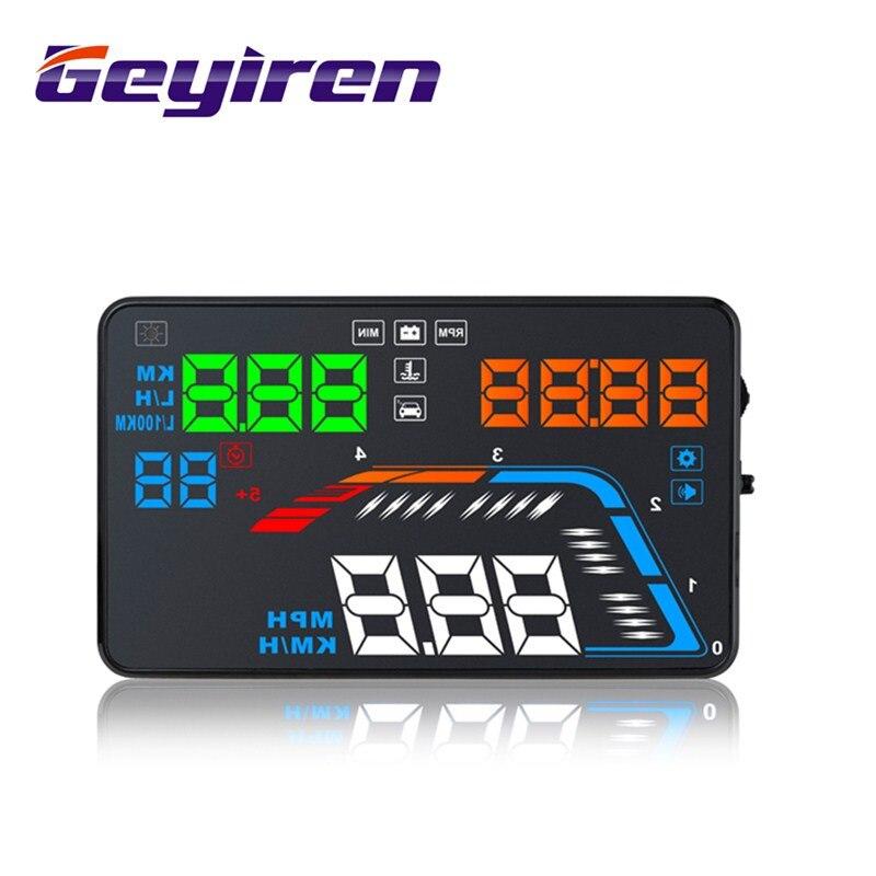 GEYIREN 5.5'' OBDII Car HUD OBD2 Port Head Up Display Q700 Speedometer Windshield Projector Auto Hud Head Up Display A100 Hud