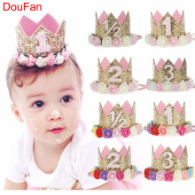 DouFan 1pc Tiara Crown Girl Boy Prins Princess Födelsedagshatt Baby Shower Hats Glänsande Sparkle Gold Party Decoration Supplies