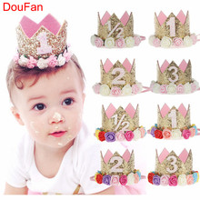 DouFan Birthday Hats Decor Cap One First Hat Princess Crown 1st 2nd 3rd Year Old Number Party Decorations Kids