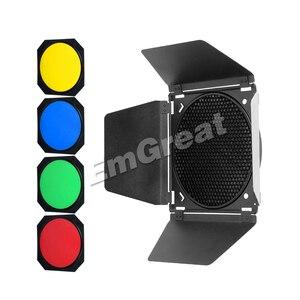 Image 2 - Godox BD 04 Bowens zamontuj drzwi do stodoły + siatka o strukturze plastra miodu + 4 filtr kolorów do standardowy reflektor do Godox QT600IIM/QT400IIM