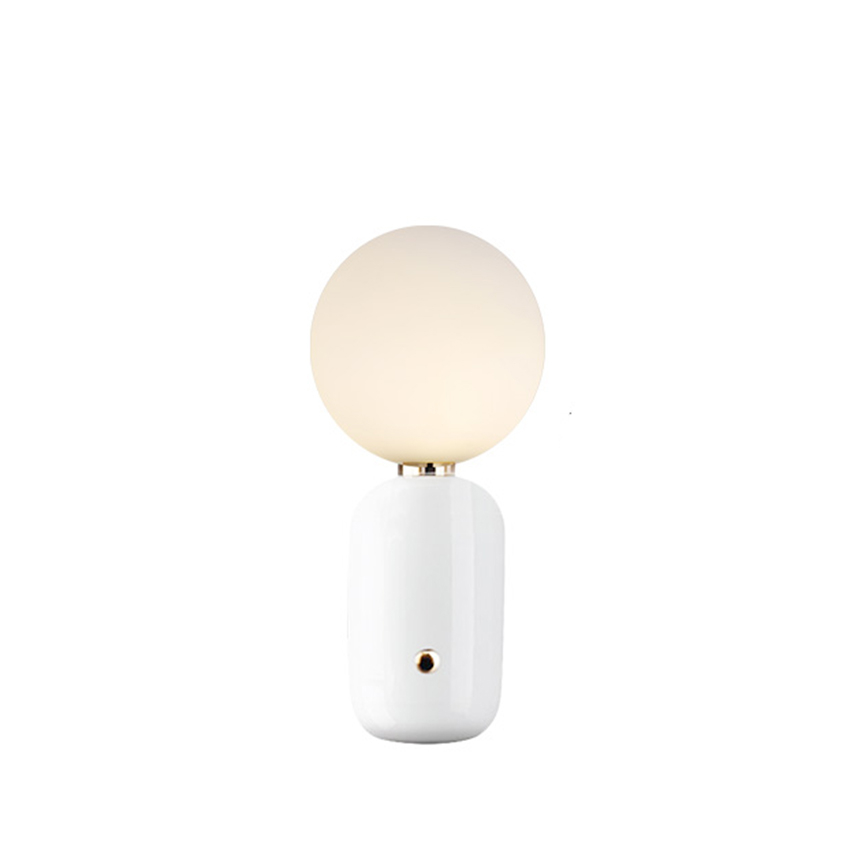 Nordic Led Table Lamp Metal Milky Frosted Desk Lamp Glass Shades Reading Lamps Table Bedroom Bedside Office Decor Stand Light in LED Table Lamps from Lights Lighting