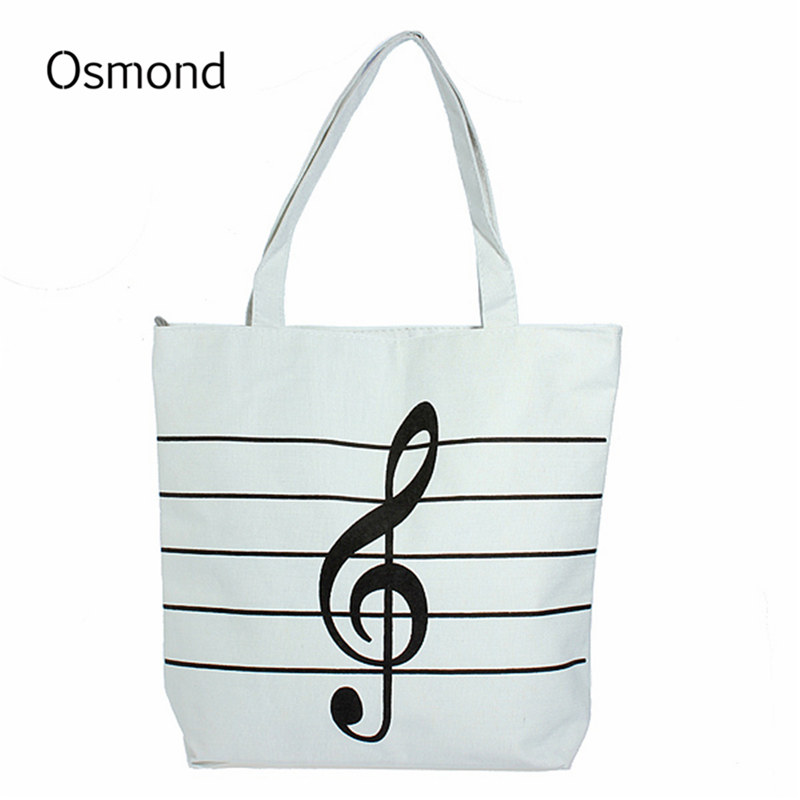 Osmond Fashion Women Canvas Bag Girl Casual Music Notes Handbag School Satchel Tote Shopping Bag Shoulder Hand Bag for Book