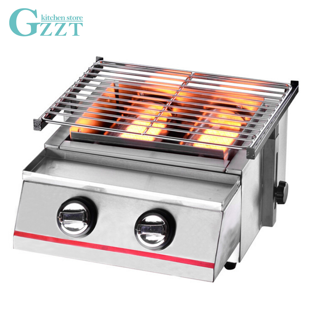 Stainless Steel Gas BBQ Grill Two Burners Outdoor Barbecue Steel Shield/Glass Shield Household Adjustable Height