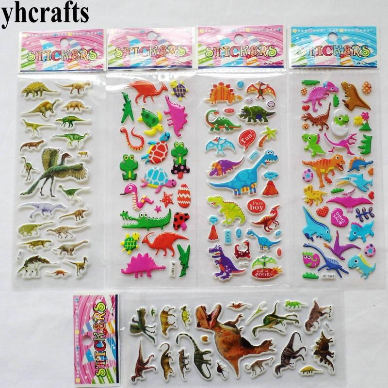 5 листов (120 наклеек)/Лот. Съемные пластиковые губки-наклейки динозавра Юрского периода, набор для скрапбукинга, декоративные настенные накл...