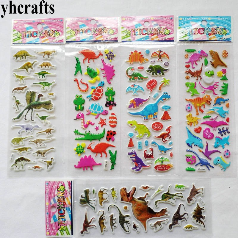 5sheets(<font><b>120PCS</b></font> <font><b>stickers</b></font>)/LOT.Removable jurassic dinosaur plastic sponge <font><b>stickers</b></font> Scrapbooking kit Decorative wall fridge <font><b>sticker</b></font> image