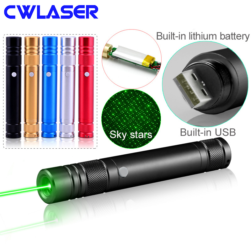 CWLASER 532nm Green Laser Pointer USB Charge with Built-in Li-ion Battery (850) Rechargeable Green Laser Pointer (5 colors)