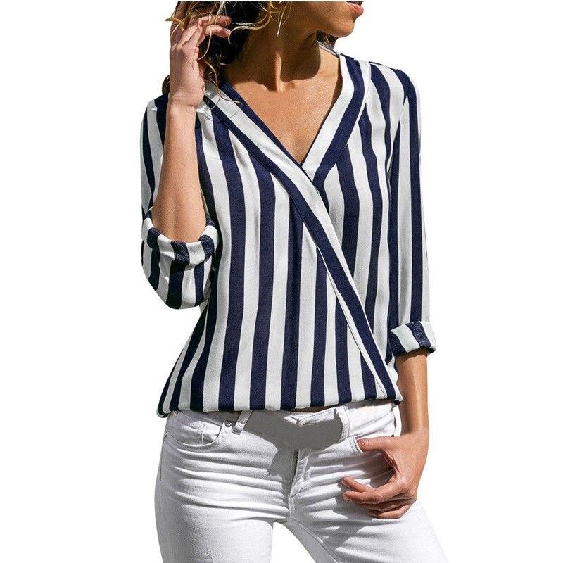 b7e852f1593 Плюс размер Весна новая шифоновая рубашка женская 2019 Повседневная с  длинным рукавом v-образным вырезом