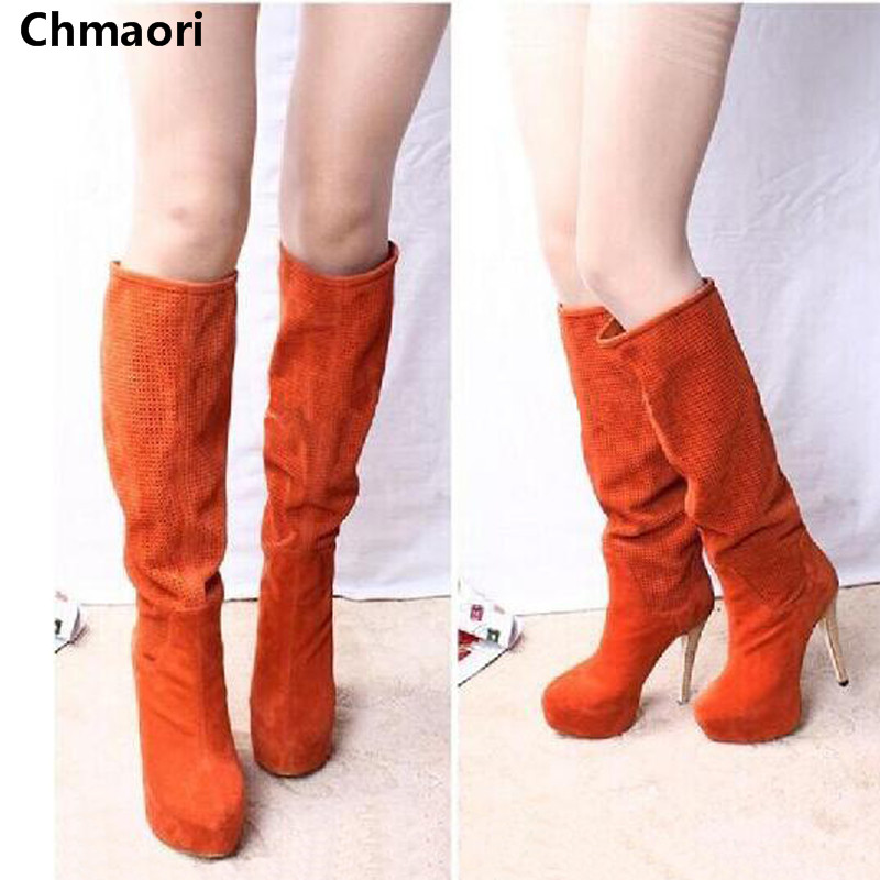 Size 35-42 Fashion Women Knee High Boots Spring Suede Leather Platform Brand Botas Shoes Round Toe Thin High Heels Women Boots women round toe ankle boots woman fashion platform wedge botas ladies brand suede leather high heel shoes footwear size 34 47