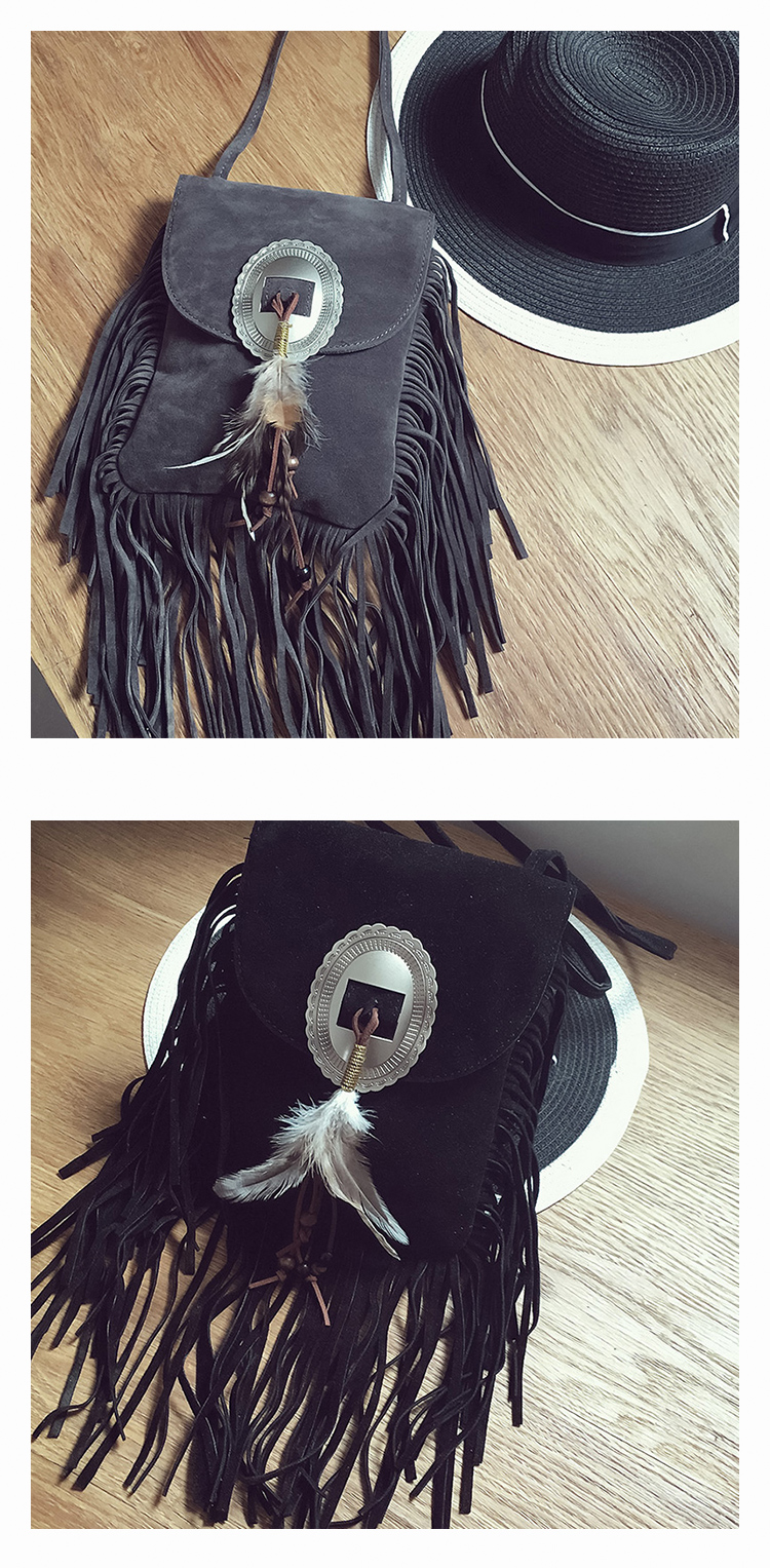 Female Small suede Bag Brown Beaded Feathers Hippie American Indian Tribal Bohemian Boho Chic Ibiza Style Pouch Bag (6)