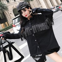 New Arrival Autumn Tassels Jeans Overcoats Women Turn Down Collar Loose Casual Jackets Black Sequined Denim Outerwear