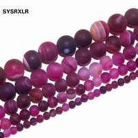 Free Shipping Natural Stone Beads Dull Polish Red Stripes Agat For Jewelry Making DIY Bracelet Necklace 4/6/8/10/12 MM Strand