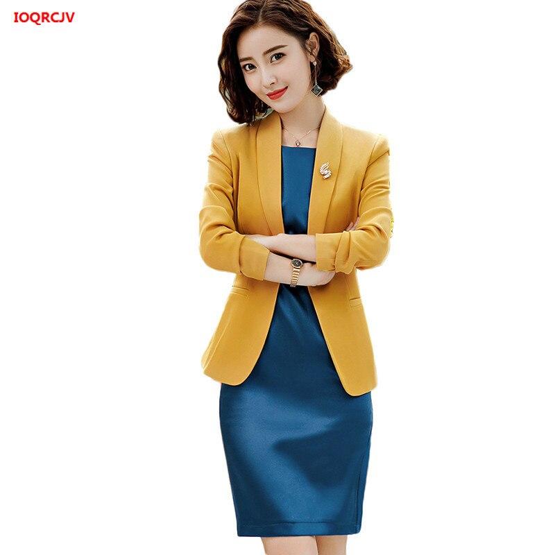 Women s Dress Suits Spring 2019 Elegant Office Ladies s Blazer Sets Slim Sleeveless Dress 2pcs