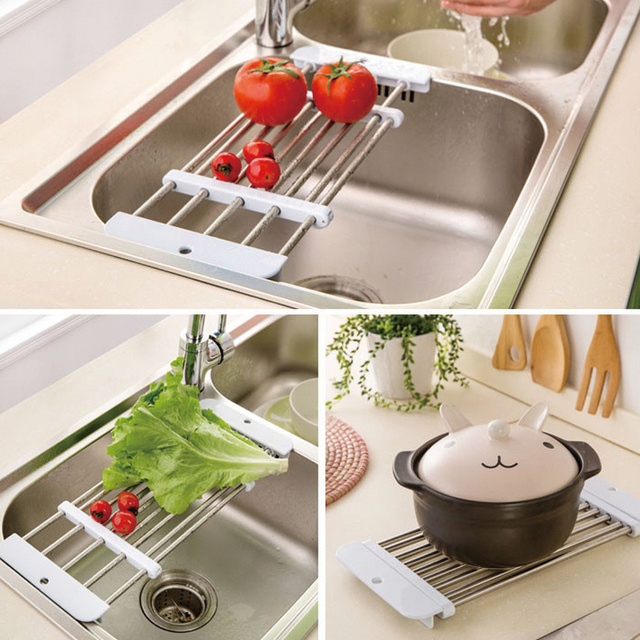 Charmant High Quality Retractable Stainless Steel Sink Drainer Fruit Vegetable Shelf  Dryer Storage Rack Holder Tray Kitchen