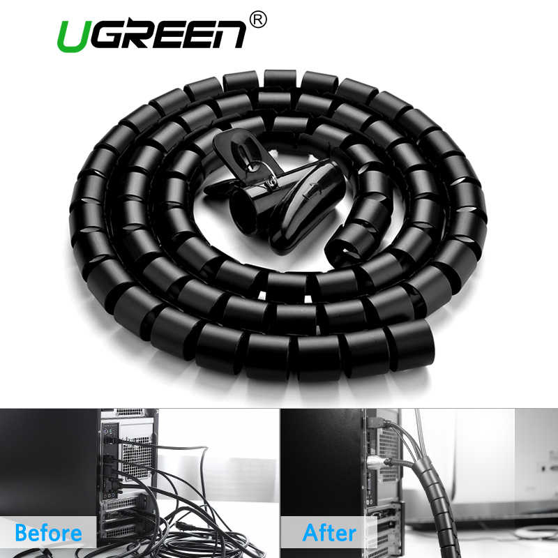 Ugreen Cable Holder Organizer 25mm Diameter Flexible Spiral Tube Cable Organizer Wire Management Cord Protector Cable Winder 10 meters spiral tube flexible cord pc home cinema cable wire organizer wrap management black white blue new arrival