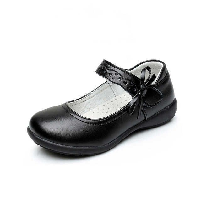 MSMAX Children School Uniform Shoes Girls Leather Sneakers Fashion Breathable Performance Kids Black Casual Shoes
