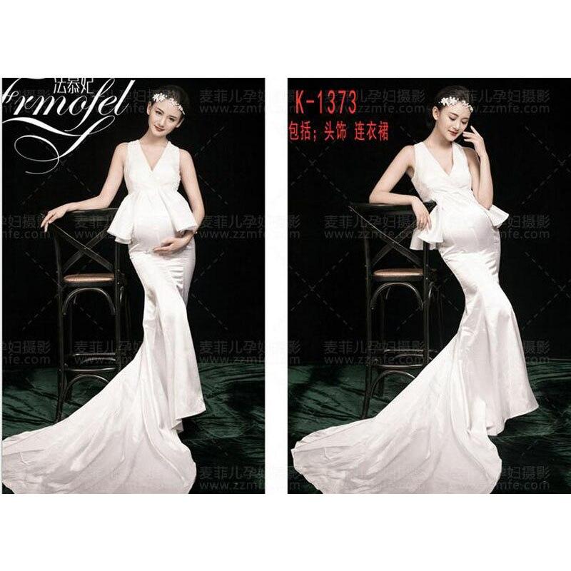 ФОТО 2016 Royal Style White Maternity Dress Pregnant Photography Props Pregnancy maternity photo shoot long dress  CX-1