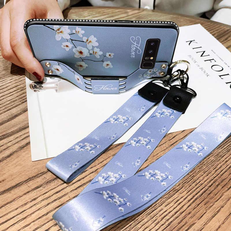 Cinturino da polso Caso Molle di TPU Per Samsung Galaxy S7 S8 S9 S10 Bordo Più Nota 8 9 Vintage Del Modello di Fiore titolare Della Copertura Con La Cordicella