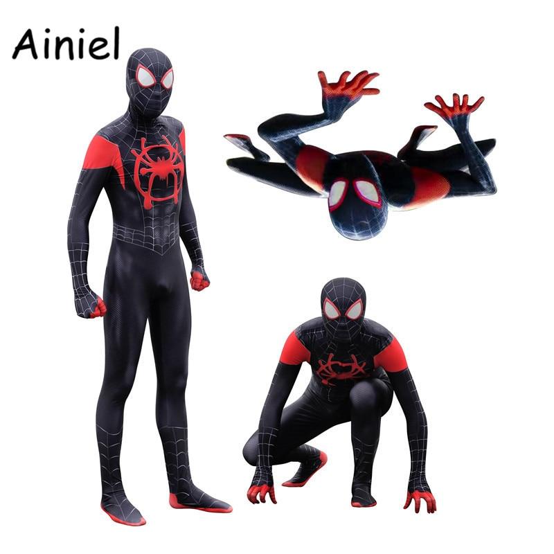 Bello Spider Man: Nel Spider-verse Miles Morales Zentai Cosplay Costume Da Supereroe Zentai Adulti Bambini Spiderman Vestito Della Tuta