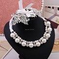 O casamento de noiva brincos de pérola colar liga conjunto de jóias acessórios de luxo cristal noiva