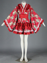 Rojo lolita kimono dress 15a cosplay traje de halloween