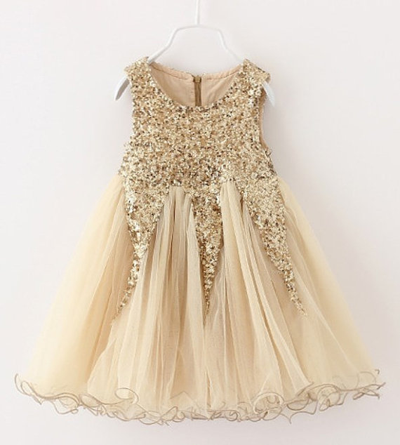 Aliexpress Com Buy Cream Tulle Flower Girl Dress Gold