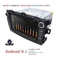 4 г android 8,1 dvd плеер автомобиля для Toyota corolla 2007 2008 2009 2010 2011 в тире 2 din 1024*600 автомобиль радио gps Видео головное устройство