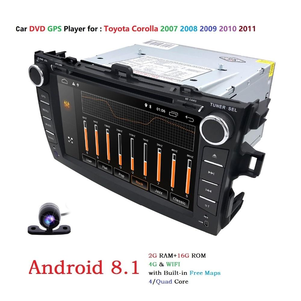 4G android 8.1 lecteur dvd de voiture Pour Toyota corolla 2007 2008 2009 2010 2011 en dash 2 din 1024*600 autoradio gps vidéo tête unité