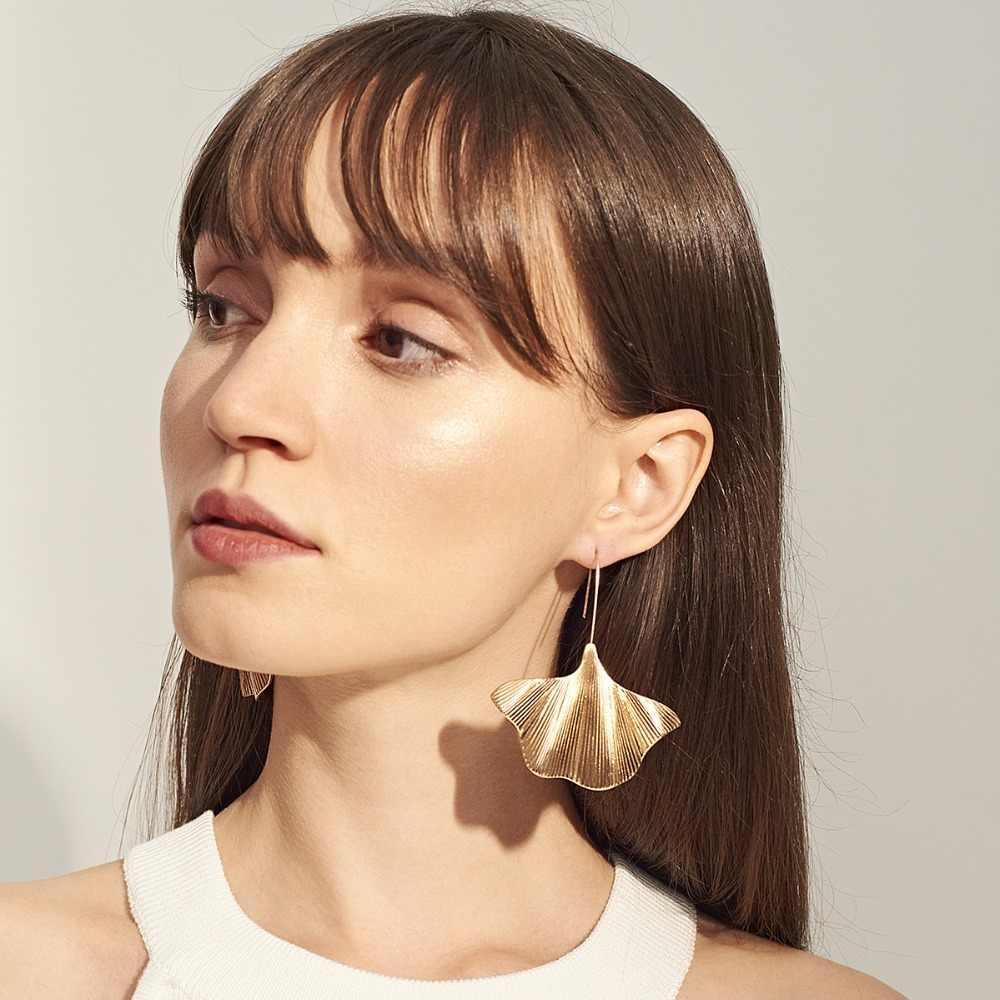 Gingko Leaf ต่างหูทองเงินสีตลกต่างหูเครื่องประดับอุปกรณ์เสริมแฟชั่น Dangling ต่างหูเครื่องประดับ