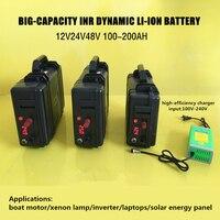 Высокая Мощность 12 В 100AH 200AH INR динамический литий ионный батареи USB для моторной лодки/панель солнечной энергии аварийного мощность источни