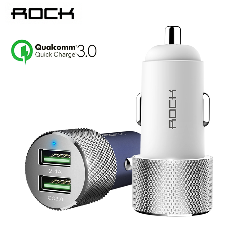 Original Metal Dual Usb Car Charger Adapter Rock 2 Usb Port Led Smart Car-charger For Samsung S7 Phone 6s Htc Lg G5 Car Charging Cellphones & Telecommunications