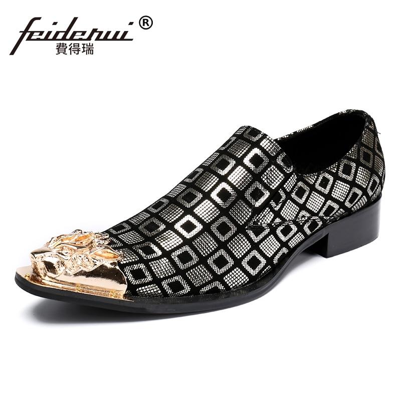 купить Plus Size Pointed Toe Slip on Man Plaid Height Increasing Loafers Fashion Genuine Leather Wedding Party Men's Runway Shoes SL83 по цене 5575.8 рублей