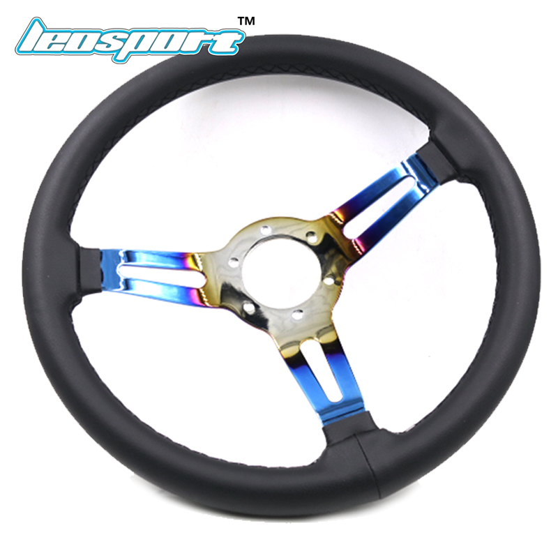 345mm Baked blue Racing Steering Wheel Leather burned blue iron frame Steering Wheel Game Steering Wheel Comes with horn button