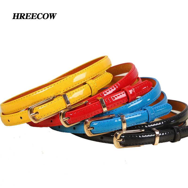 Hot New Candy PU Leather Women's Thin Belt Wild Dress Color Black Red Yellow Blue White Belts for Women