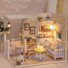 Doll House Furniture Diy Miniature Dust Cover 3D Wooden Miniaturas Dollhouse Toys for Children Birthday Gifts Kitten Diary H013(China)