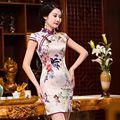 Venta caliente Estilo Chino Tradicional Cheongsam Vestido Clásico Satén de Las Señoras Mini Qipao Vestido de Tamaño de la Ropa Sml XL XXL 216000