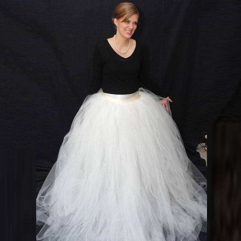 Pure blanc gonflé Tulle femmes jupe ruban taille mariée robes de bal décoration pour la fête de mariage Photo sur mesure Vestidos Saia