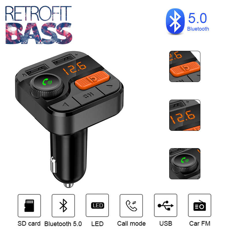 Bluetooth 5,0 FM передатчик плеер стерео Бас Aux модулятор громкой связи автомобильный комплект автомобильный аудио mp3-плеер 3.4A двойной зарядное устройство usb