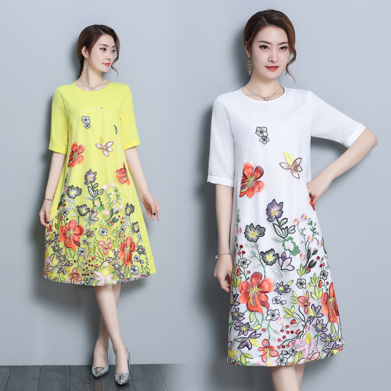 2018 New arrival womens floral silk dress short sleeve summer embroidery vintage female A-line clothing for women brick dress ...