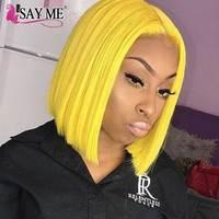 Синтетические волосы на кружеве натуральные волосы парики короткие Боб Cut парики 613 Блондинка прямо бразильский парики для черный Для женщи