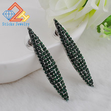 2015 new fashion horse-shaped eyes, round emerald pendant ear female CZ earrings, free shipping