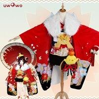 Onmyoji Game Minamoto Kagura Cosplay Onmyoji New Year Ver Japanese Kawaii Red Kimono Uwowo Costume Onmyoji