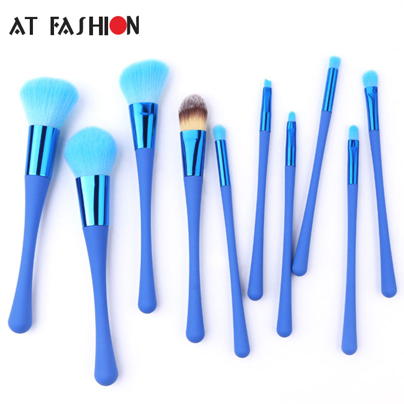 AT FASHION Newest 10 pcs Makeup Brushes Kit Pincel Maquiagem Cosmetic Professional Foundation Powder Makeup Brush Set Blue 4 pcs golden professional makeup brushes waistline sculpting brush set cosmetic tool maquiagem accessories with original box