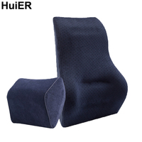 HuiER Auto Car Lumbar Back Support Waist Cushion Headrest Supply Memory Foam For Car Office Home Chair Car styling Seat Support