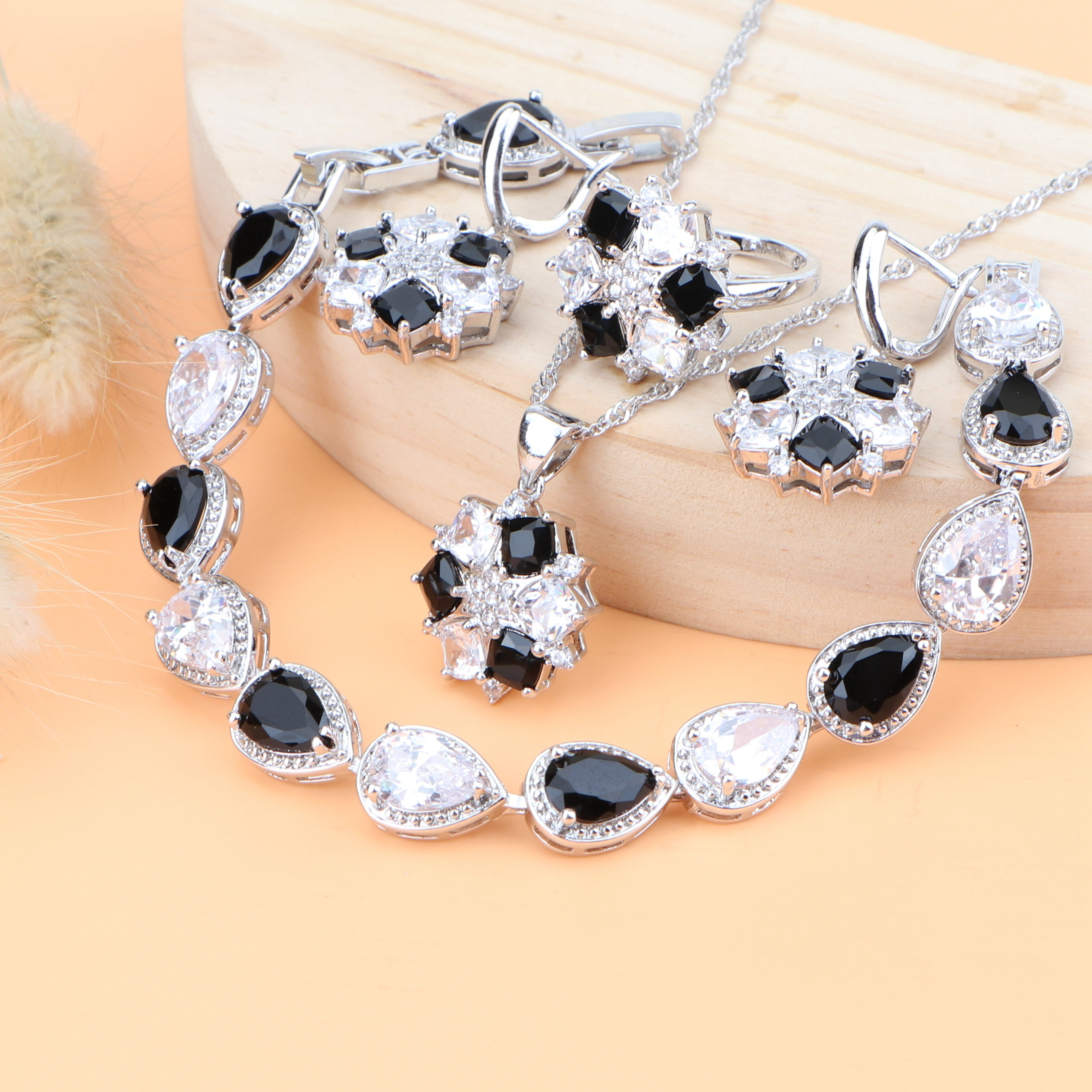 Wedding Black Zircon Silver 925 Bridal Jewelry Sets Earrings With White Stone Costume Jewelry Rings Necklace Set Gifts Box