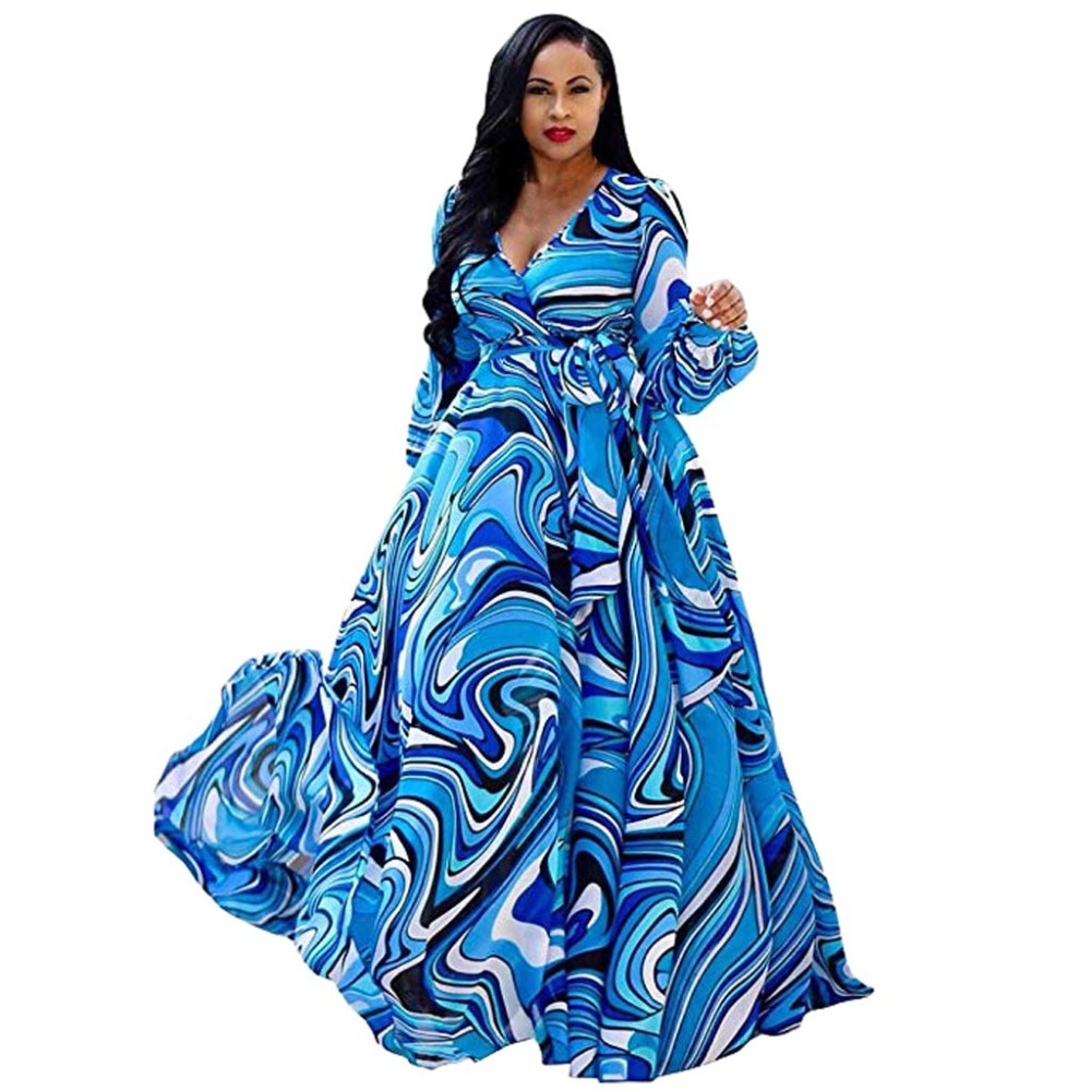 Women's Clothing V-neck Printed Floral Maxi Dress Women 2019 Summer New Arrival Womens Stylish Chiffon Dress Waisted Belt Plus Slim Soft Dress