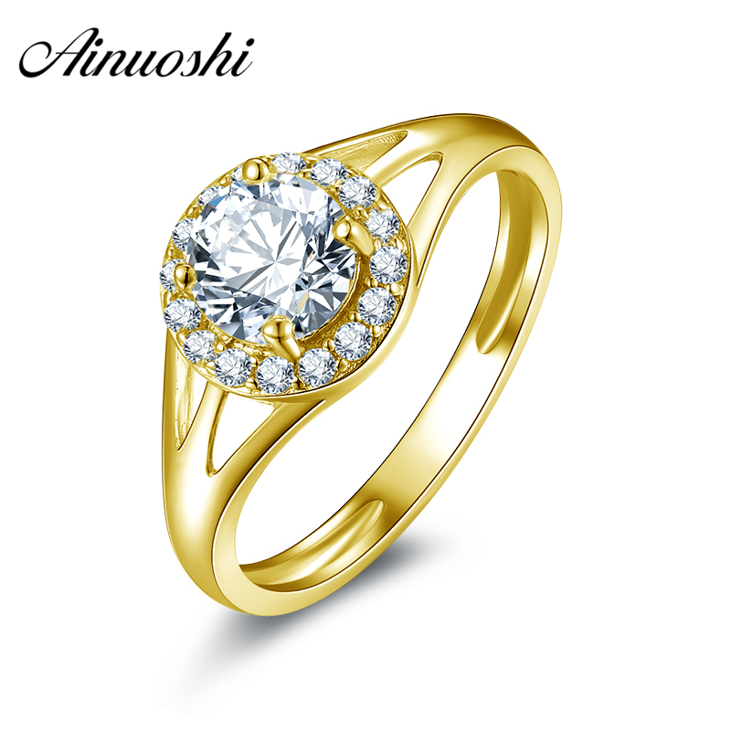 AINUOSHI 10K Solid Yellow Gold Engagement Ring 0.8 ct Round Cut Simulated Diamond Fine Jewelry Anillos Mujer Women Wedding Rings ainuoshi 10k solid yellow gold wedding ring sona simulated diamond jewelry lady anillos new flower shape women engagement rings