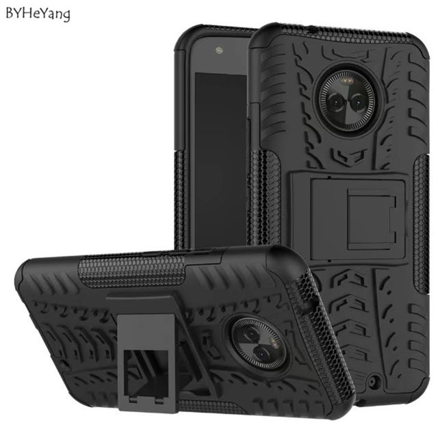 "BYHeYang phone bags cases For Motorola Moto X4 Case 5.2"" Armor Hard PC Silicone Case For Moto X4 Cover with Holder Stand Shell"