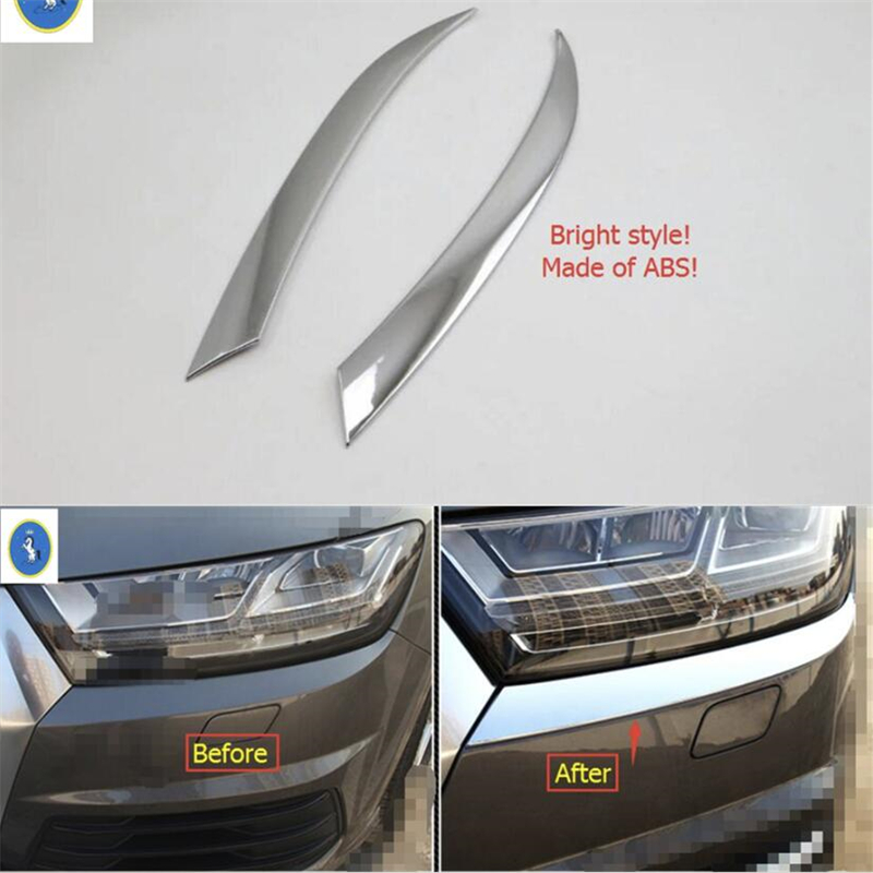 Yimaautotrims Auto Accessory ABS Chrome Front Head Lamp Lights Decoration Cover Trim Fit For Audi Q7 2016 2017 2018 2019 2007 bmw x5 spoiler