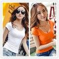 Cores doces 2016 novas mulheres primavera verão casual t-shirts menina moda roupas de algodão tops & t para mulheres SL croped topos